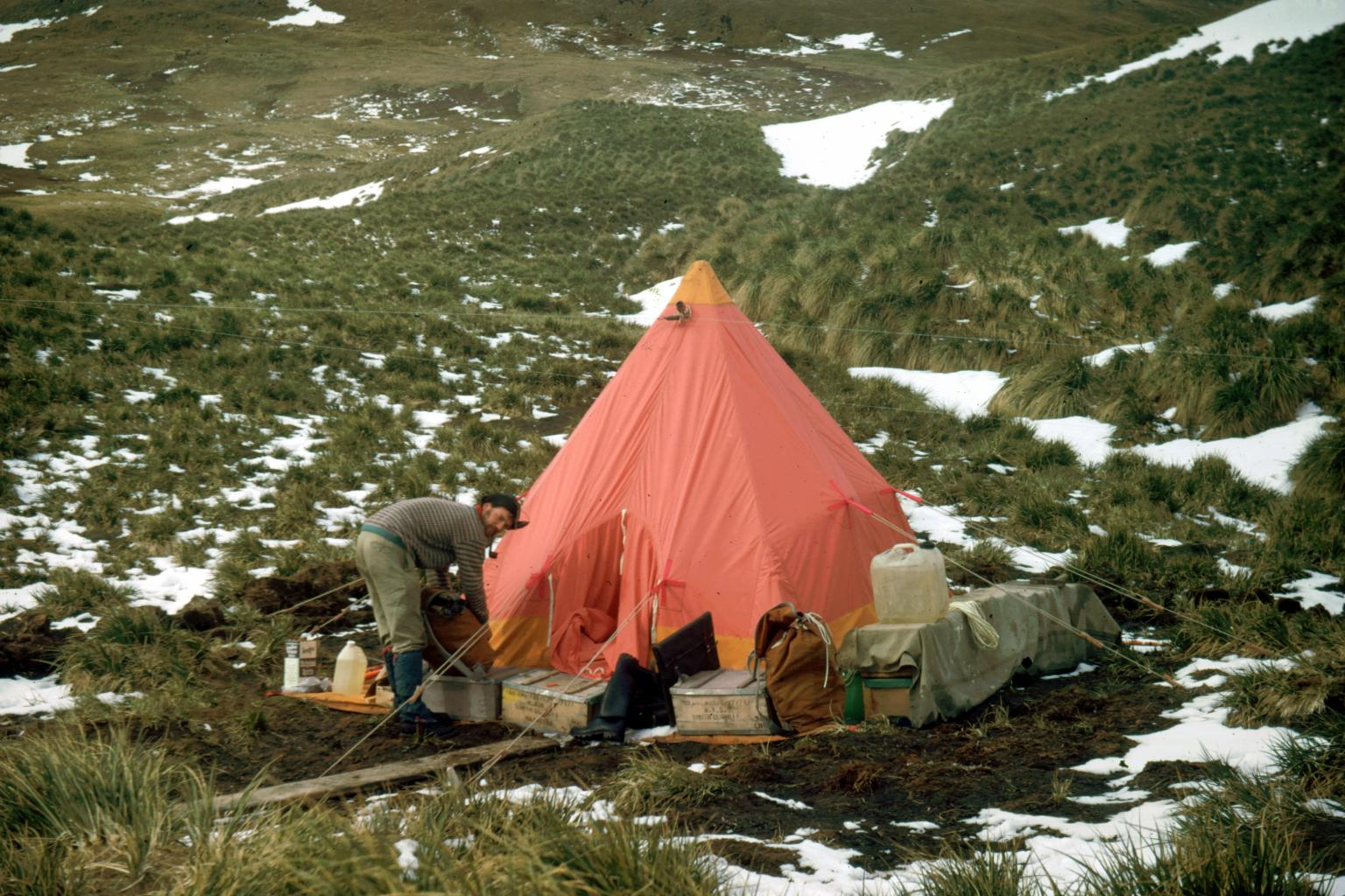 Camping on Annenkov Island, 1972